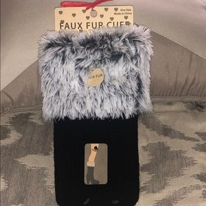 Shoes - Faux Fur Cuff Boot Topper
